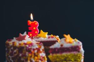 ろうそくが立ったケーキ